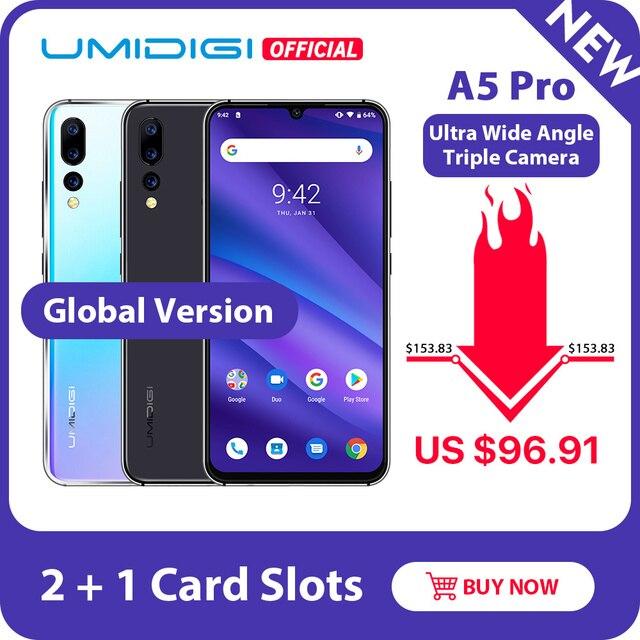 Global Version UMIDIGI A5 PRO Android 9.0 Octa Core 6.3' FHD+ Waterdrop 16MP Triple Camera 4150mAh 4GB RAM 4G Celular Smartphone
