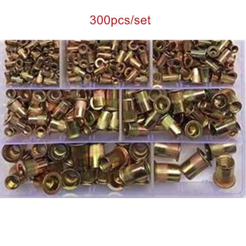 300pcs/set Chrome-plated Vertical Rivet Nut Boxed M3/4/5/6/8/10/12
