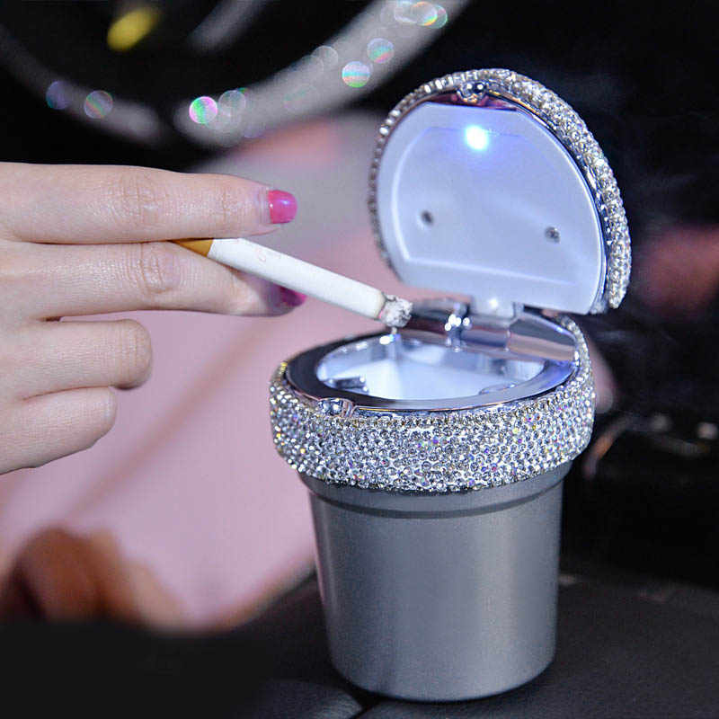 Phoneix Car Ashtray,Crystal Diamond Bling Smokeless Stand Cylinder Cup Holder with Led Light Indicator Styling