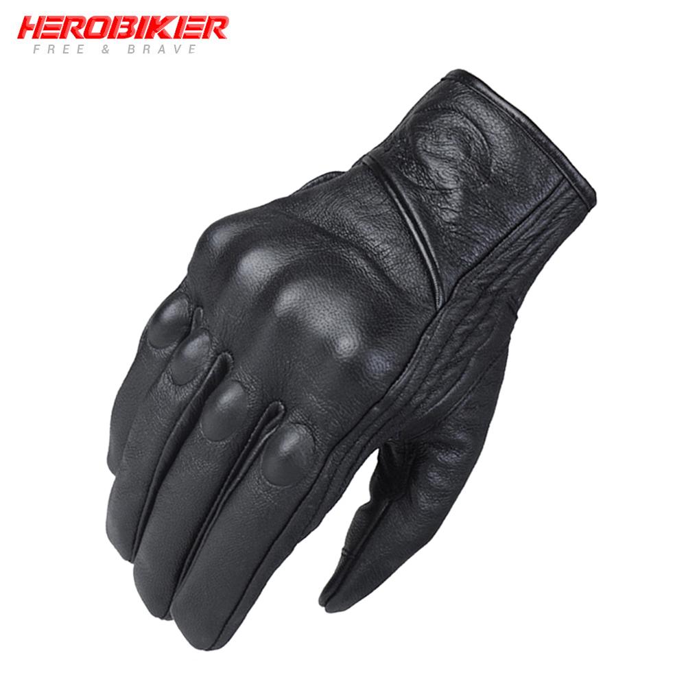 HEROBIKER  Real Leather Motorcycle Gloves Moto Waterproof Gloves Protective Gears Touch Function Motocross Gloves Gants De Moto Black