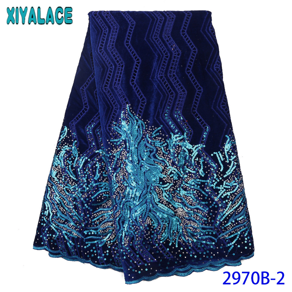 African Velvet Lace Fabric 2019 High Quality Lace With Sequence Newest Sequin Velvet Lace KS2970B-2