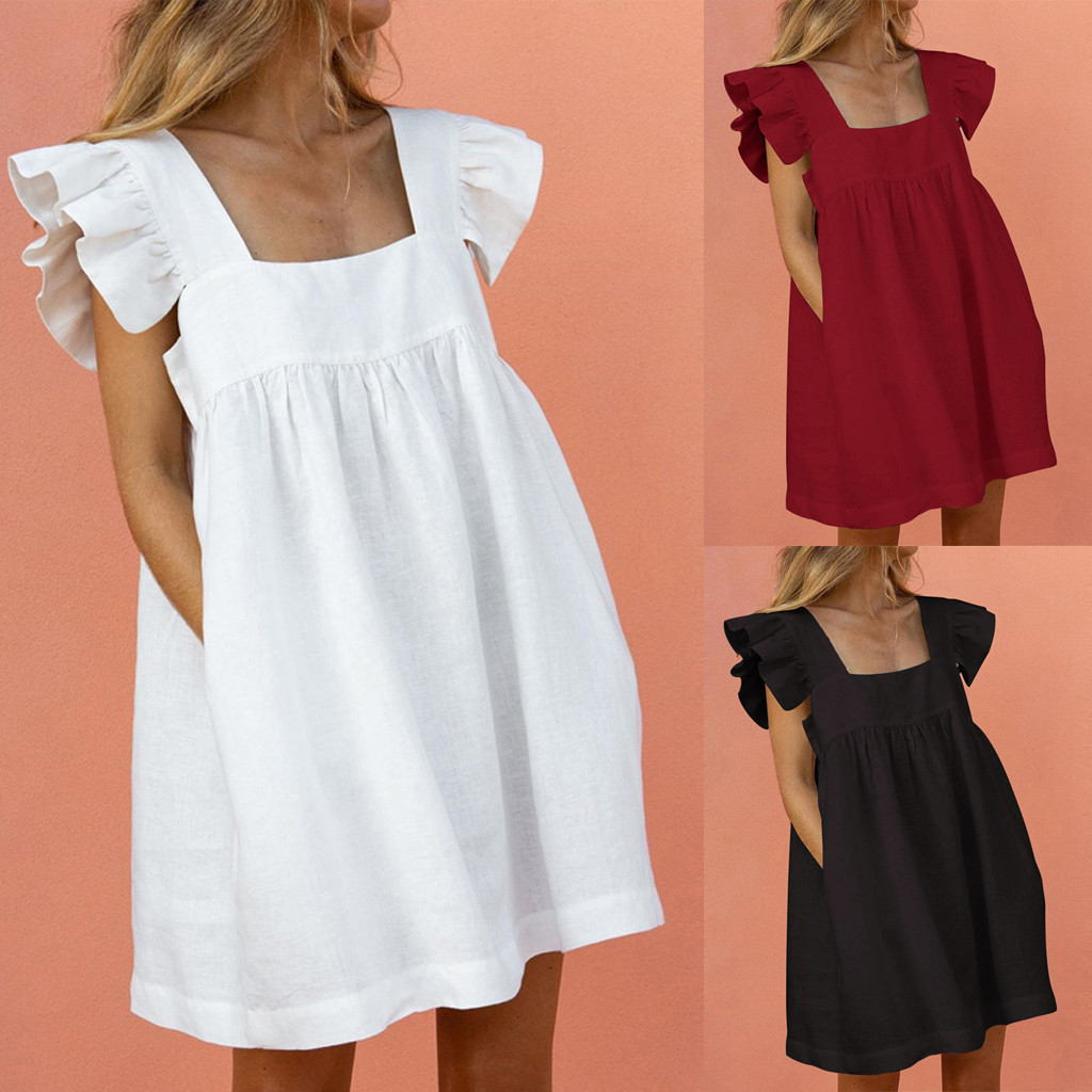 Women Elegant Butterfly Sleeve Ruffles Dress Summer Casual loose pocket A Line party