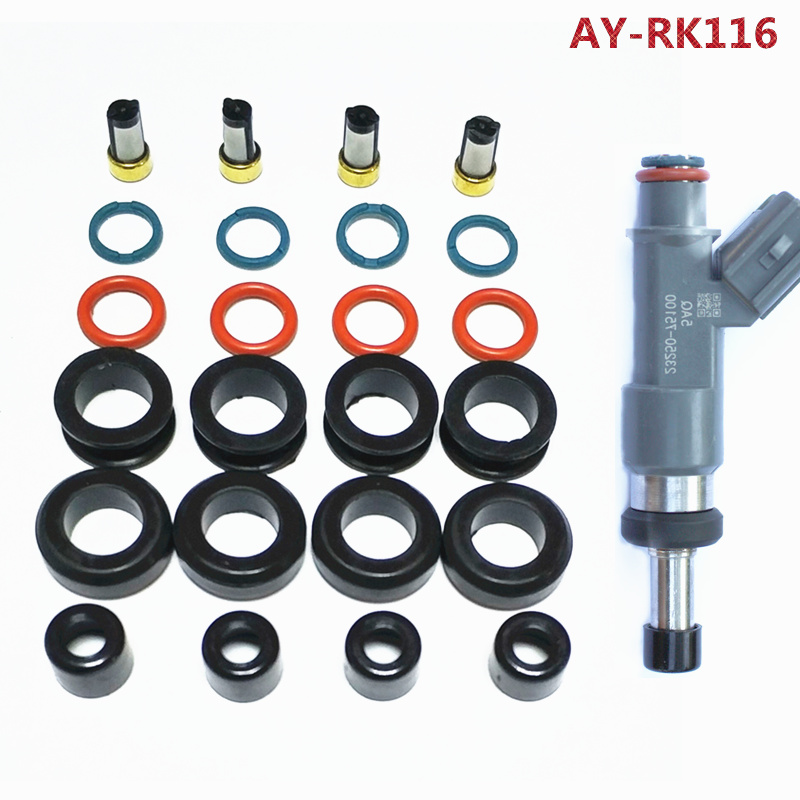 For Toyota 2.7L I4 Fuel Injector Repair Service Kit Seals Filters Grommets rings