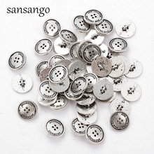 Ancient Silver Round Buttons Sewing Tools Decorative Button Scrapbooking Garment DIY Apparel Clothing Accessories Gift 25pcs anchor urea button with four eye buttons retro fire button diy crafts clothing sewing accessories