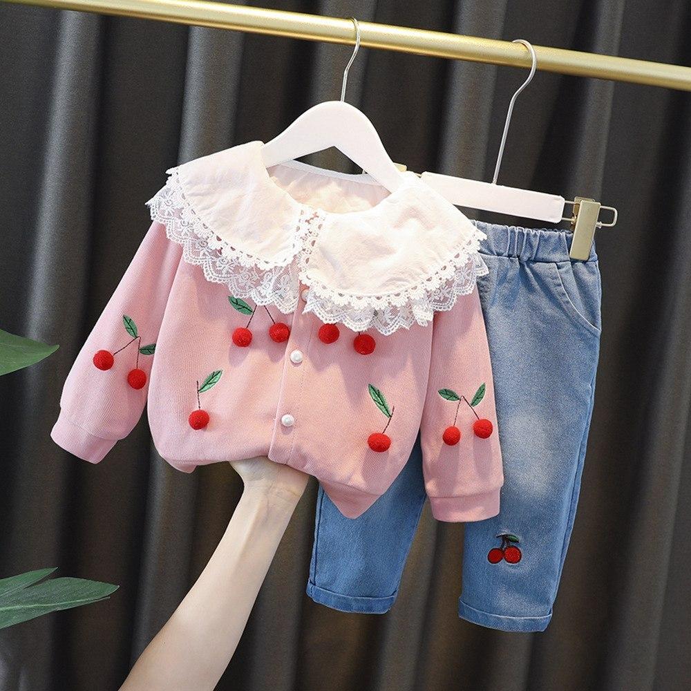 Meninas princesa 3 pçs conjunto de roupas do bebê crianças 2020 outono manga comprida blusa camisa + casaco cardigan cereja calças jeans s11090