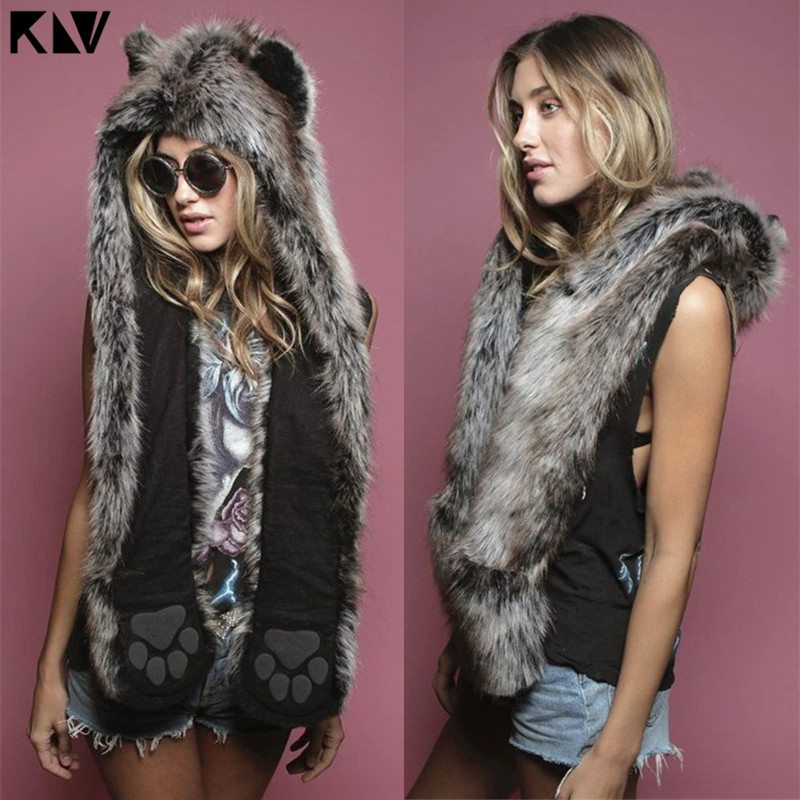 3 In 1 Women Men Fluffy Plush Animal Wolf Leopard Hood Scarf Hat With Paws Mittens Gloves Thicken Winter Warm Earflap Bomber Cap