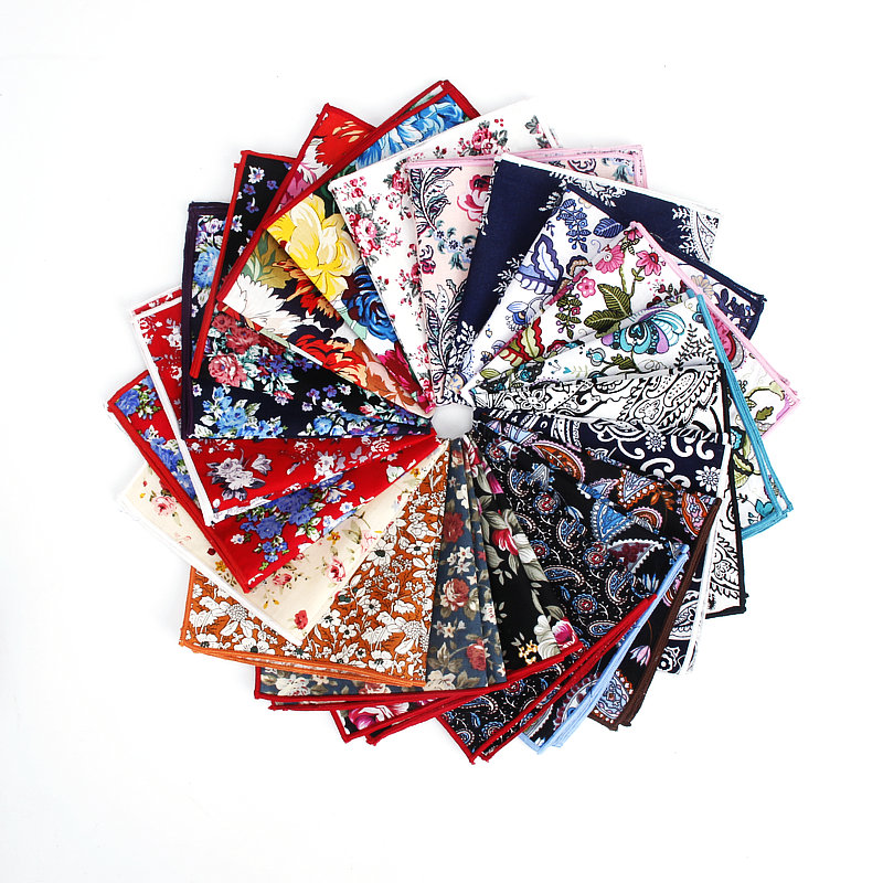 Brand New Style Men's Colorful Hankerchief Scarves Vintage Flower Hankies Men's Pocket Square Handkerchiefs Rose Flower Paisley