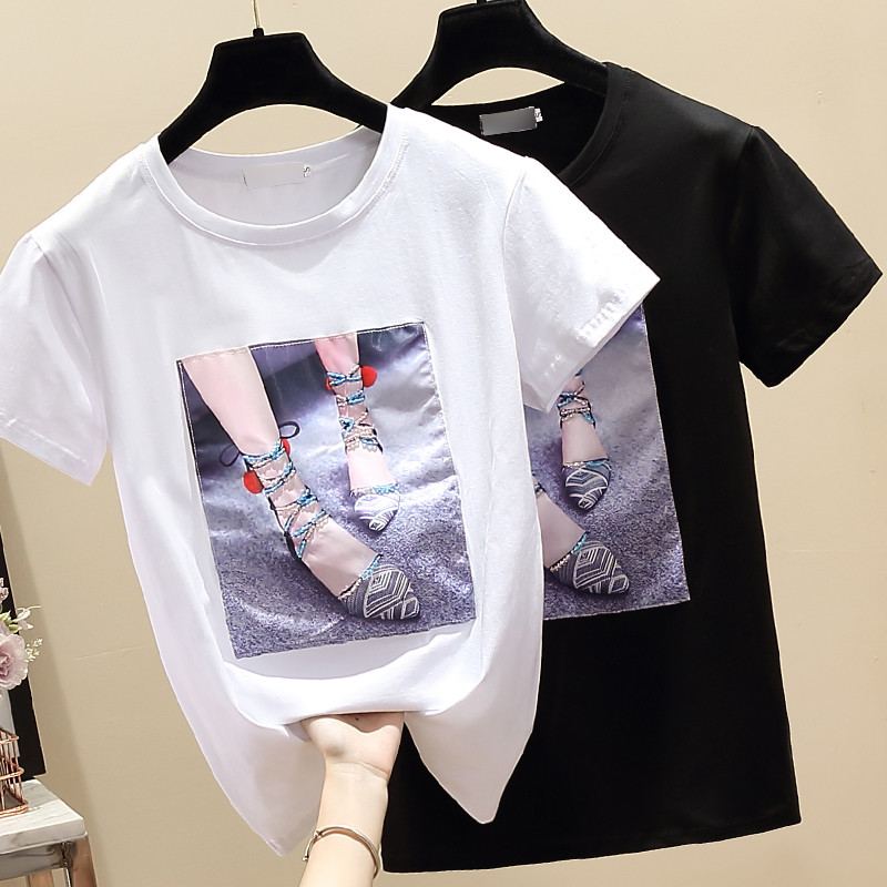 Gkfnmt Tops Women Summer T Shirts O Neck T-Shirt Cotton Tshirt White Camiseta Mujer 2020 Vetement Femme