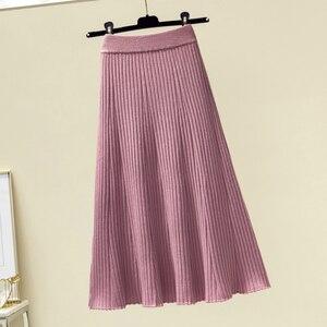 Image 3 - Женская длинная юбка в рубчик, зимняя утепленная трапециевидная юбка из смеси кашемира, плиссированная плотная вязаная юбка до середины икры, Осень зима