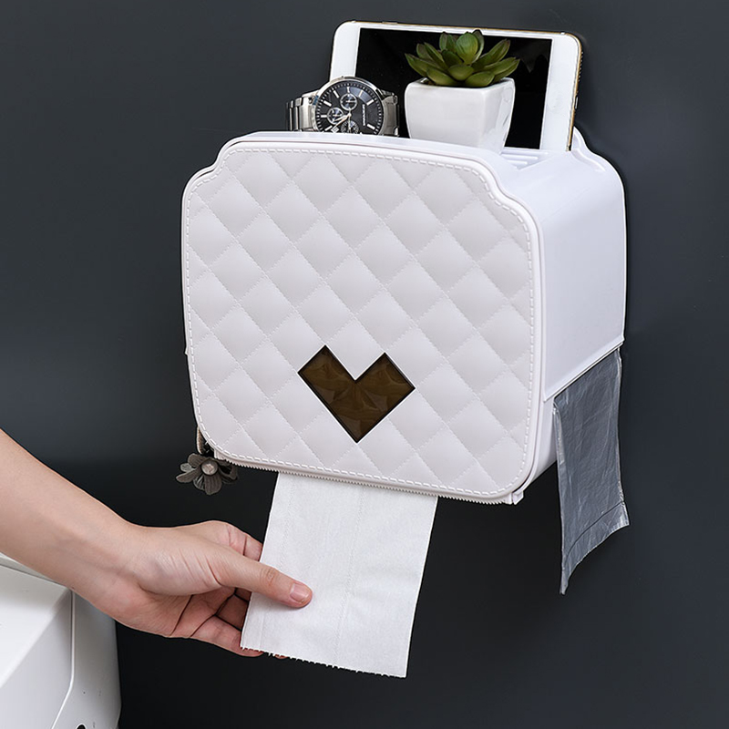 Wall Mount Toilet Paper Holder Storage Box Toilet Paper Tray Waterproof Bathroom Tissue Box Roll Paper Tube Bathroom Organizer