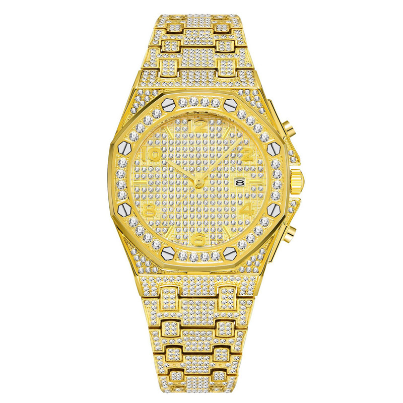 luxury mens business watches full diamonds ice out watch hip hop quartz watch for men 18k gold plated waterproof auto date male clock man drop shipping for shopify 2020 (21)