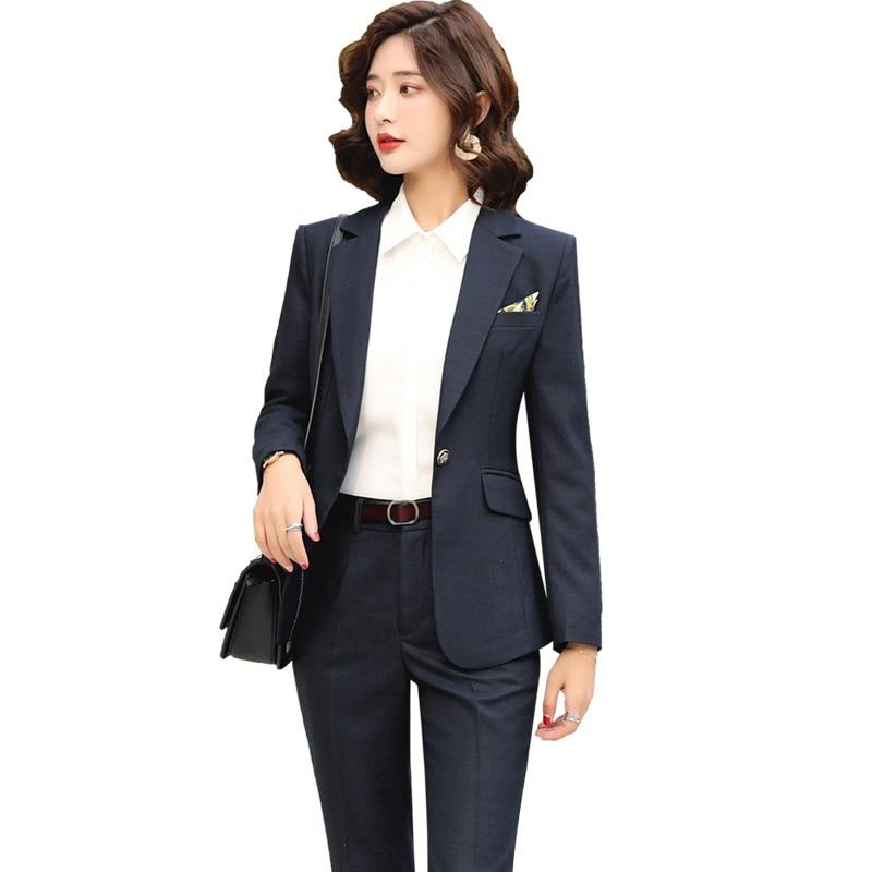 Autumn Winter Blue / Gray Plaid women's pants suit set 2 pieces Office Wear Suits Female Sets blazer jacket for women costumes