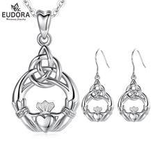 EUDORA 925 Sterling Silver Good Luck Irish Claddagh Celtic Knot Love Pendant Necklace Earrings Jewelry Sets for Women Party Gift(China)