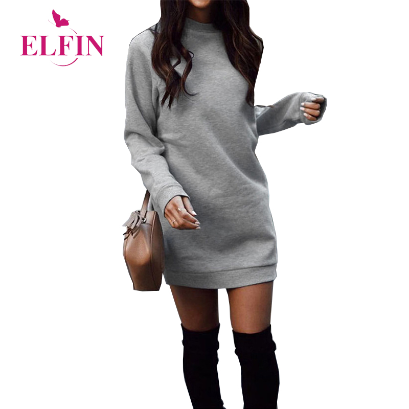 Basic Long Hoodies Sweatshirts Dress Round Neck Pull Fall 2018 Autumn Dress adies Work Wear Sudaderas Mujer 2018 Dresses SJ941R title=