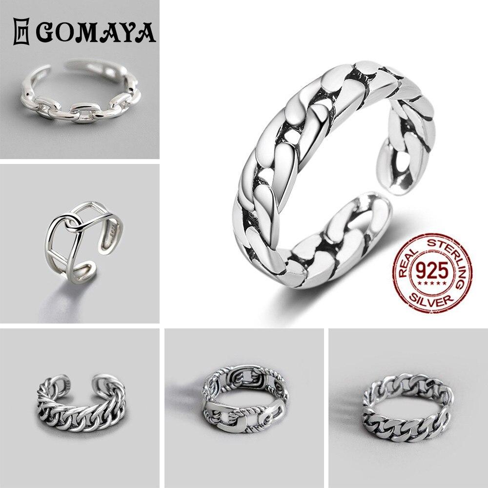 GOMAYA унисекс винтажные Серебристые кулоны Цвет металлический открытые панковские кольцо простой дизайн кольца для женщин и мужчин, вечерни...