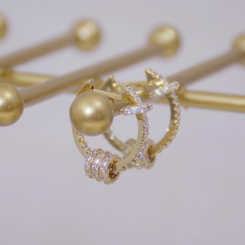14k or véritable luxe Super brillant boucles d'oreilles boucle de haute qualité délicate AAA Zircon cercle boucle d'oreille bijoux pendentif accessoires 3
