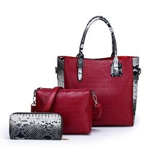 Image 3 - Conjunto de 3 piezas de lujo para mujer, bolsa de gran capacidad, bolso de hombro retro para mujer, bolso cruzado de cuero pu con billetera