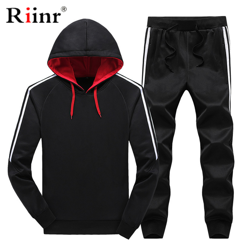Riinr 2019 Fashion New Arrival Men's Sportwear Sets Spring And Autumn Casual Hoodies Two Piece Sets Sporting Suit Tracksuit Men