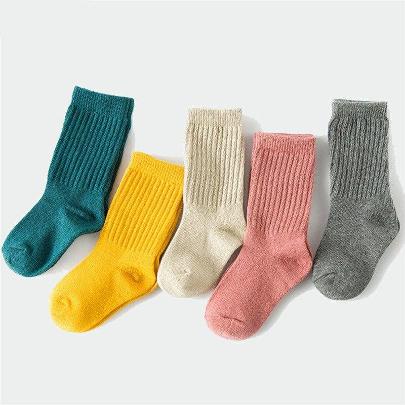 Модная детская одежда для мальчиков и девочек возрастом от 1 года до 10 лет однотонные теплые хлопковые милые носки для малышей Новые