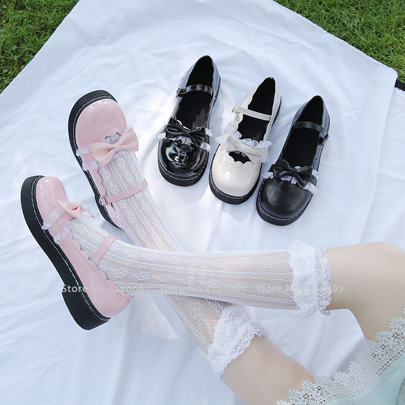 Girl Japanese Style Lolita Princess Anime JK School Shoes Women Cos Academy Kawaii Lace Bow Leather Single Shoes Cosplay Costume