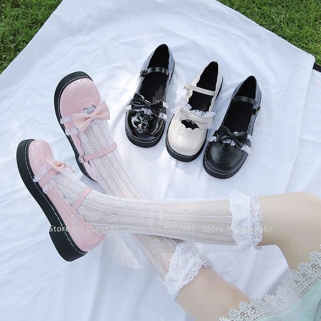소녀 일본식 로리타 프린세스 애니메이션 JK 학교 신발 여성 코스 아카데미 카와이 레이스 보우 가죽 싱글 슈즈 코스프레 의상