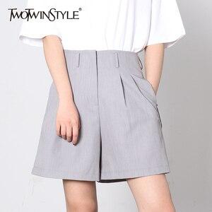 Женские шорты TWOTWINSTYLE, повседневные летние шорты с высокой талией и карманами на молнии, широкие шорты с завязками, 2020