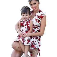 Fashion Mom and Me Matching New Printed Parent-child Wear Casual Print Dress Sleeveless O-neck Family Look Mommy Dresses
