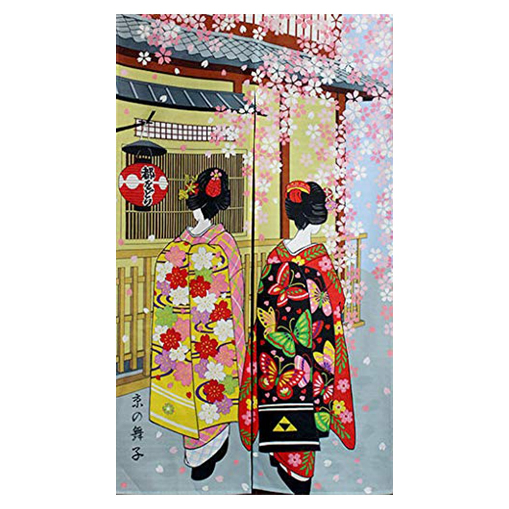 HLZS-Japanese Style Long Doorway Curtain Kyoto Geisha Girls And Cherry Blossom Window Treatment Tapestry For Home Decoration 33.