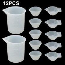 12 pçs copos de medição silicone copos de mistura molde epóxi dispensador agitador conta-gotas copo de medição diy artesanal ferramenta de medição