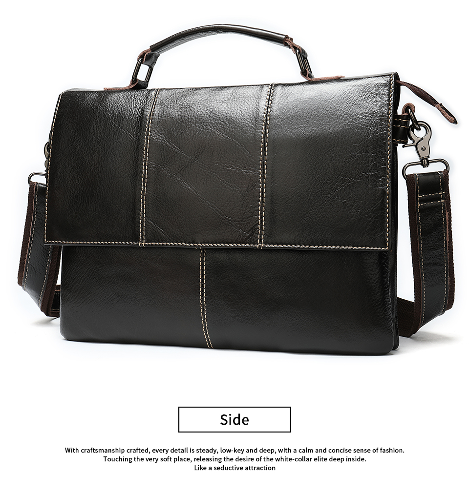 H9e95ab3ff1a44b7b8f043b62d700fc84R Bag Men's Briefcase Genuine Leather Office Bags for Men Leather Laptop Bags Shoulder/Messenger Bag Business Briefcase Male 7909