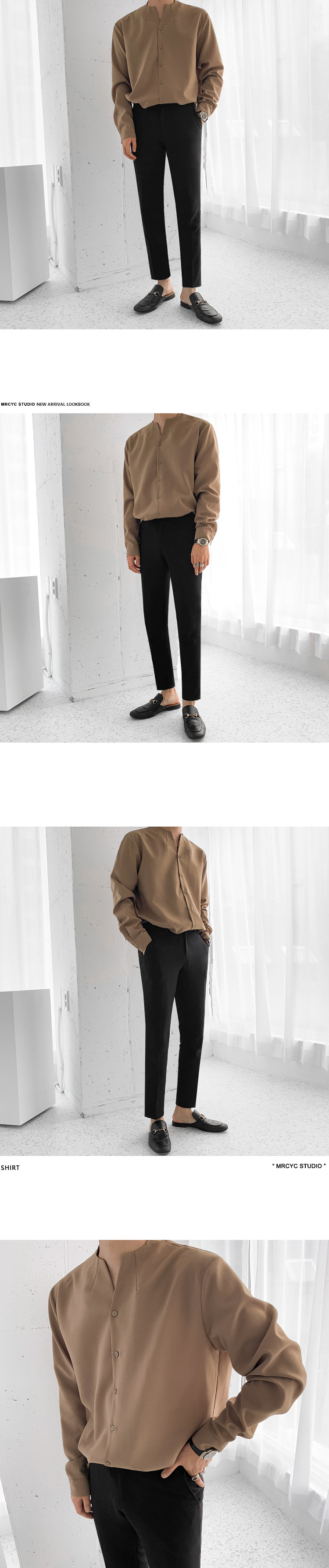 H9e95af7a75f2443ca5191978f3bffb60z IEFB /men's wear 2020 autumn casual stand collar solid color shirt for male Personality Trend Handsome Long Sleeve s 9Y899