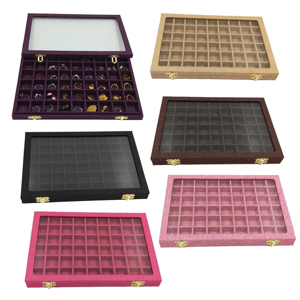 Line Board 54 Grids Clear Glass Lid Rings Holder Showcase Jewelry Case Organizer Jewelry Box For Earrings Necklaces Bracelets