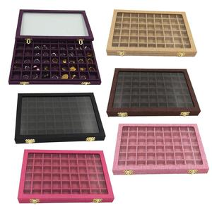 Image 1 - Line Board 54 Grids Clear Glass Lid Rings Holder Showcase Jewelry Case Organizer Jewelry Box for Earrings Necklaces Bracelets