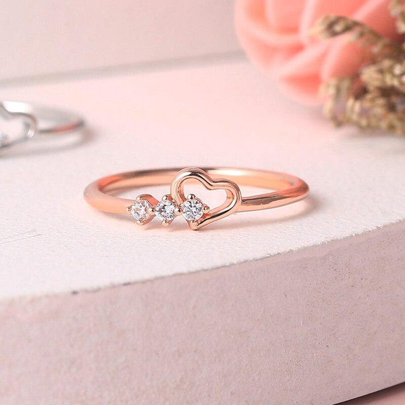 Anillos ZHOUYANG para mujer joyería Simple amor corazón CZ Color oro rosa boda novia regalo joyería de moda al por mayor R210