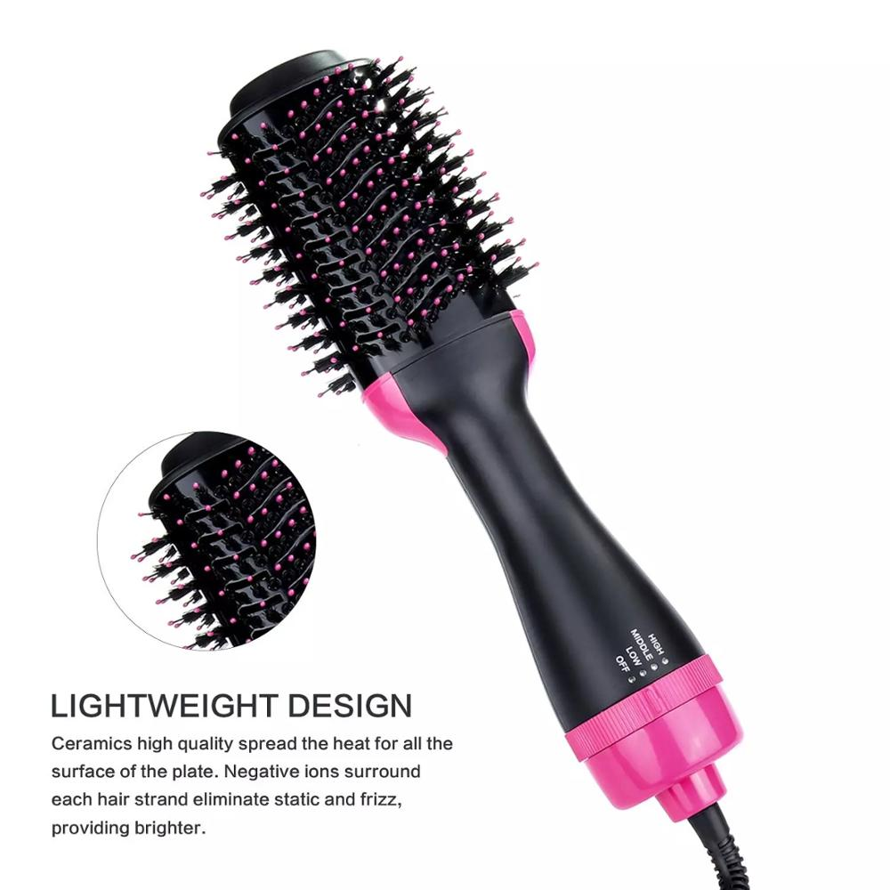 1Step Hair Dryer And Volumizer ManKami Salon Hot Air Paddle Styling Brush Negative Ion Generator Hair Straightener Curler Comb