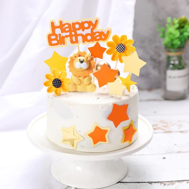 Awesome Orange Color Cute Lion Sunflower Cake Topper Birthday Cake Funny Birthday Cards Online Hetedamsfinfo
