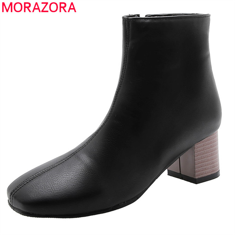 Image 1 - MORAZORA 2020 large size 51 women ankle boots square toe zip autumn winter high heels boots classic vintage dress shoes ladies-in Ankle Boots from Shoes