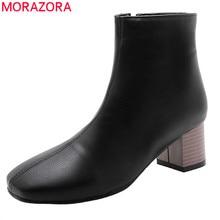 Morazora 2020 tamanho grande 51 botas femininas tornozelo dedo do pé quadrado zip outono inverno botas de salto alto clássico do vintage vestido sapatos senhoras
