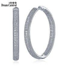 DreamCarnival 1989 Rhodium Color Zirconia Luxury Elegant Classic Hoop Earrings for Women Thin Easy Push In Pin Locks SE23882 WR