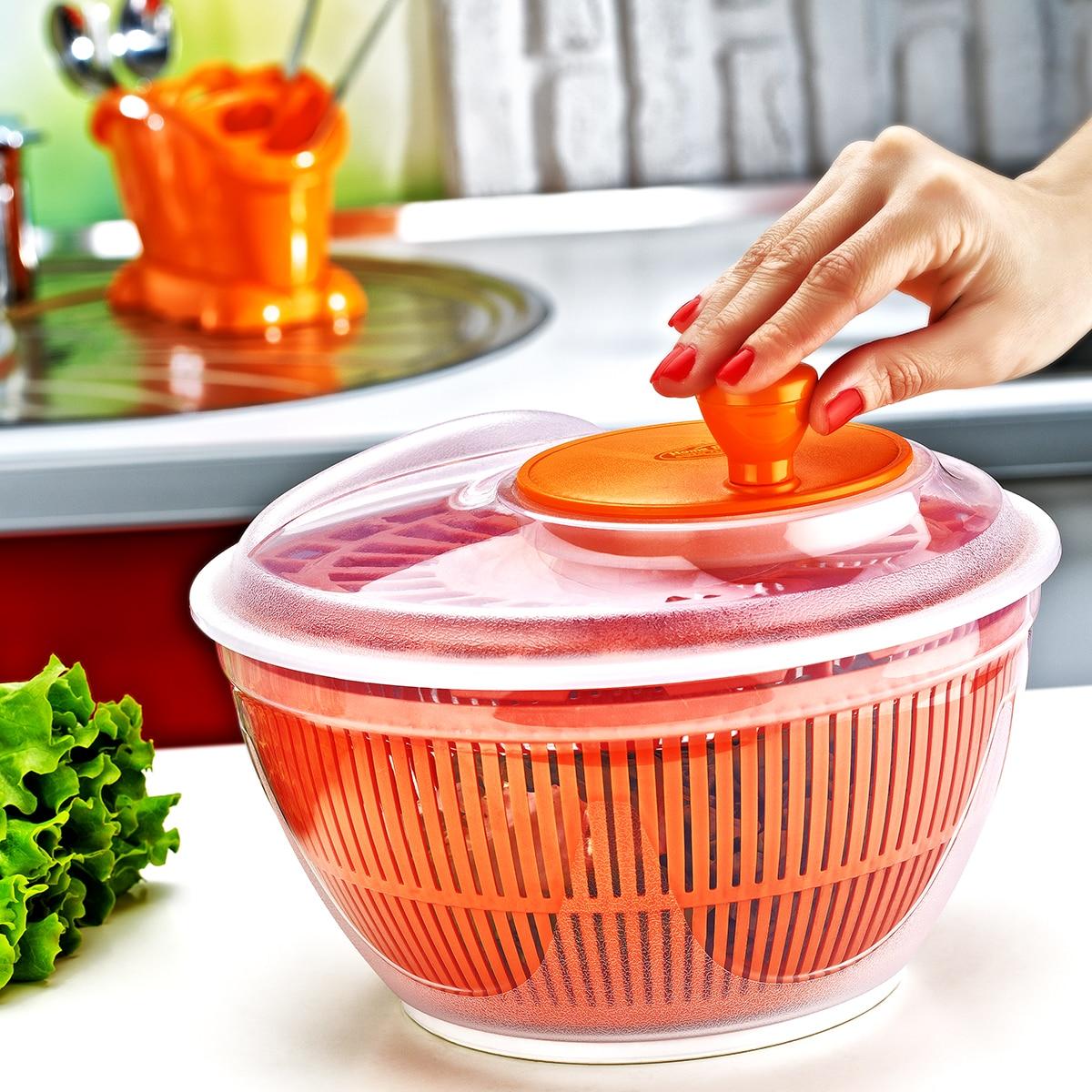 Контейнер для сушки салатов с сетчатым фильтром, центрифуга для разделения воды в упаковке, качественный пластик без бисфенола А, Ø 26x16 суши...
