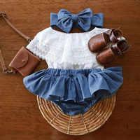 Ropa para bebé niña, novedad de verano Chico, traje para niña recién nacida, Top con volantes de encaje + pantalones cortos de tela vaquera + diadema, ropa para bebé 2021