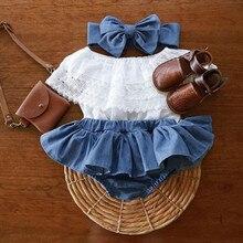 Одежда для маленьких девочек, Новинка лета 2021, детская одежда, наряд для новорожденных девочек, кружевной топ с оборками + платье-шорты из дж...