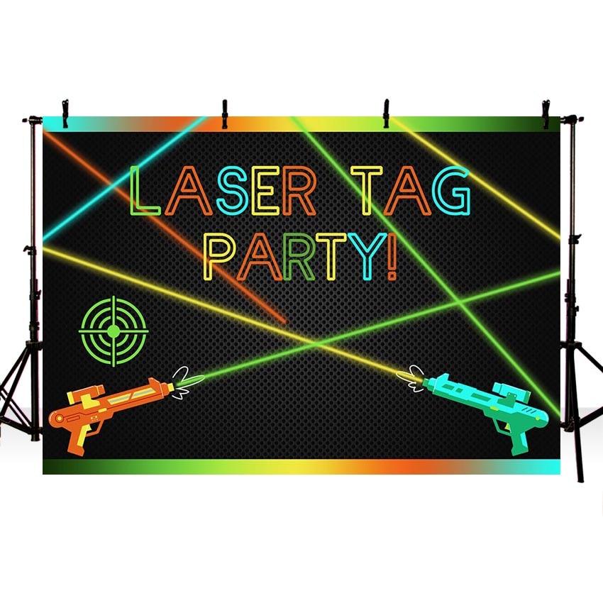 Sensational Mehofoto Laser Tag Themed Backdrop For Photography Laser Gun Boy Birthday Cards Printable Riciscafe Filternl