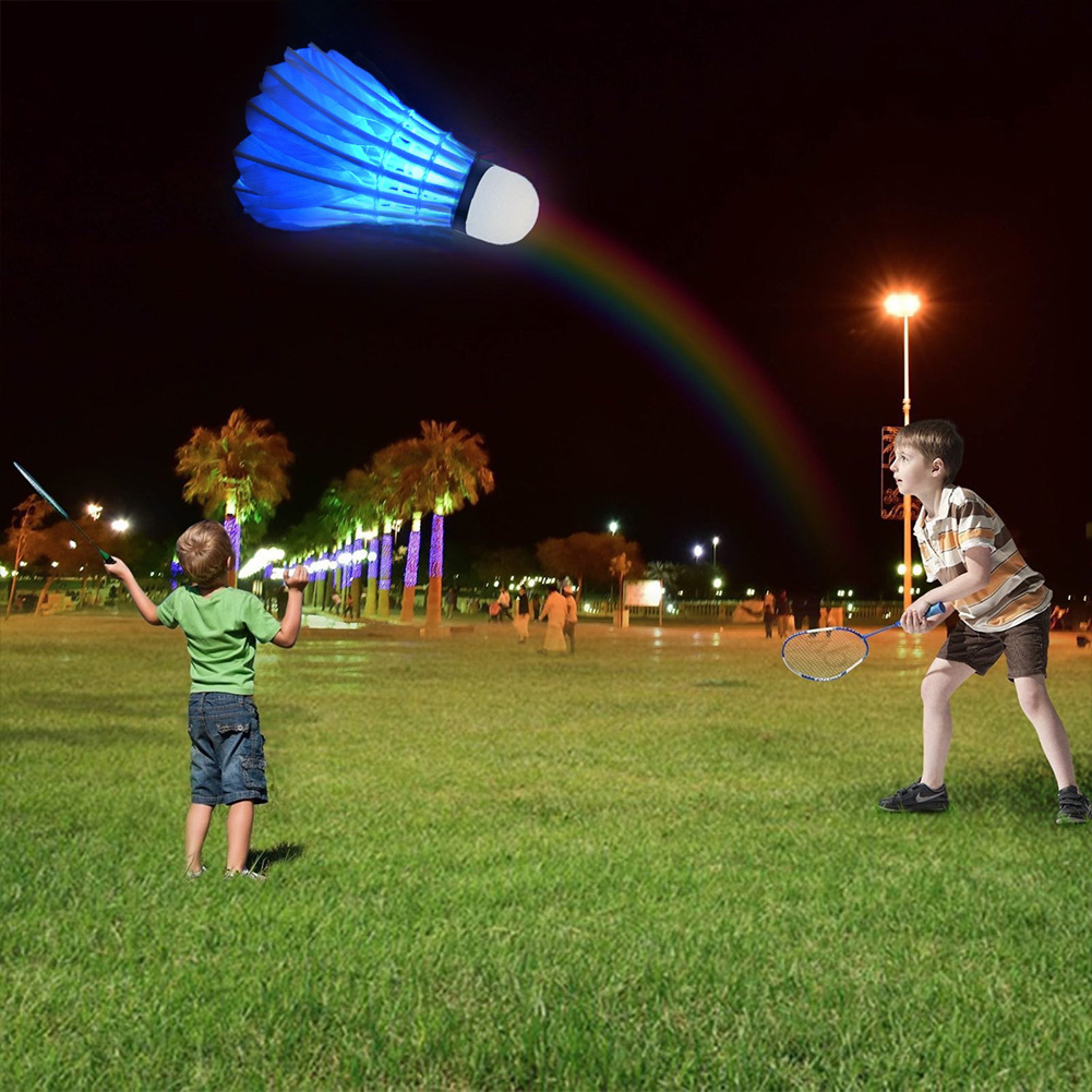 4PCS Lighting Badminton Shuttlecock Dark Night Colorful LED Lighting Sport Badminton Ball Accessories Light Spot Shuttle Cock