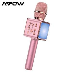 Mpow combinado karaoke microfone alto-falante sem fio bluetooth cantando máquina com luzes led portátil handheld karaoke mic para festa