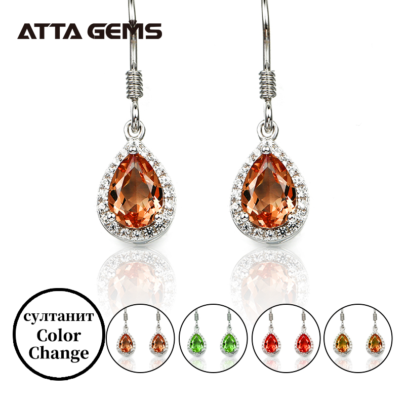 Diaspore Sterling Silver Drop Earrings S925 For Women Sultanite Color Changes Stone Created Fine Jewelry Birthday Gifts