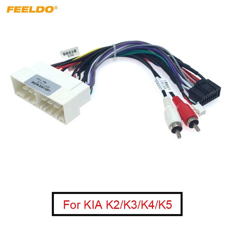 FEELDO 5Pcs Car Navi Radio 16PIN Adaptor Wiring Harness For KIA K2/K3/K4/K5 Verna Audio Power Calbe Wire Plug and play #FD2159