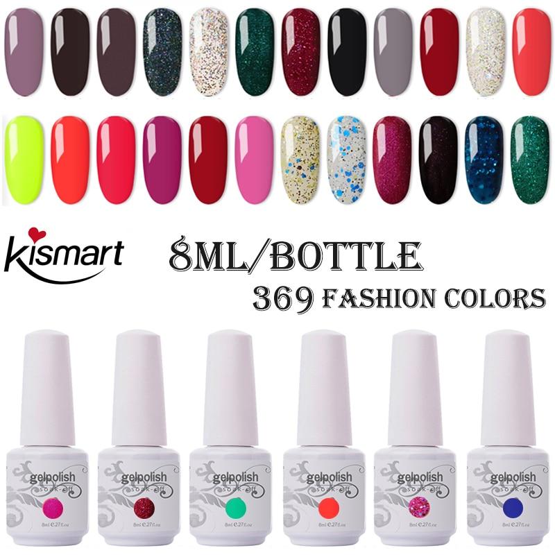 Kismart Any 1PC Nail Gel Polish 8ml UV Gel 290 Colors Nail Polish Lacquer Soak Off Painting Gel LED Hybrid Nail Art Resin Primer