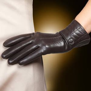 Winter Gloves Sheepskin Real-Leather Women's Black Dark-Brown L159NC-1 Thermal-Autumn-Winter