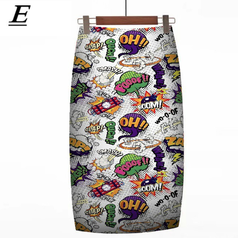2020 Women Harajuku Mouse Pencil Skirts Colorful Cartoon Yeah! Letters Printing High Waist Slim Midi Split Sexy Female Falda